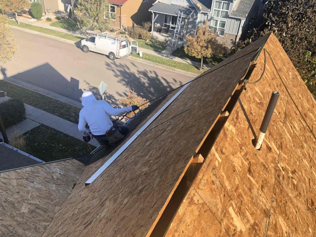 Bare deck, drip edge install in Louisville